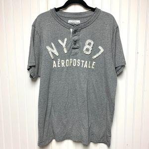 """Aeropostale Gray """"NY 87"""" Henley Style Shirt"""
